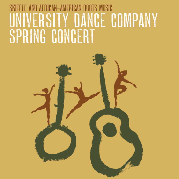 show artwork for the University Dance Company Spring Concert features hand-drawn dancer figures leaping and posing on drawings of a banjo and guitar