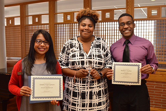 All student honorees at the first KU Diversity Leadership Awards. From left are Sandra Vega-Carrero, Jylessa Hampton, and Matthew Scarber