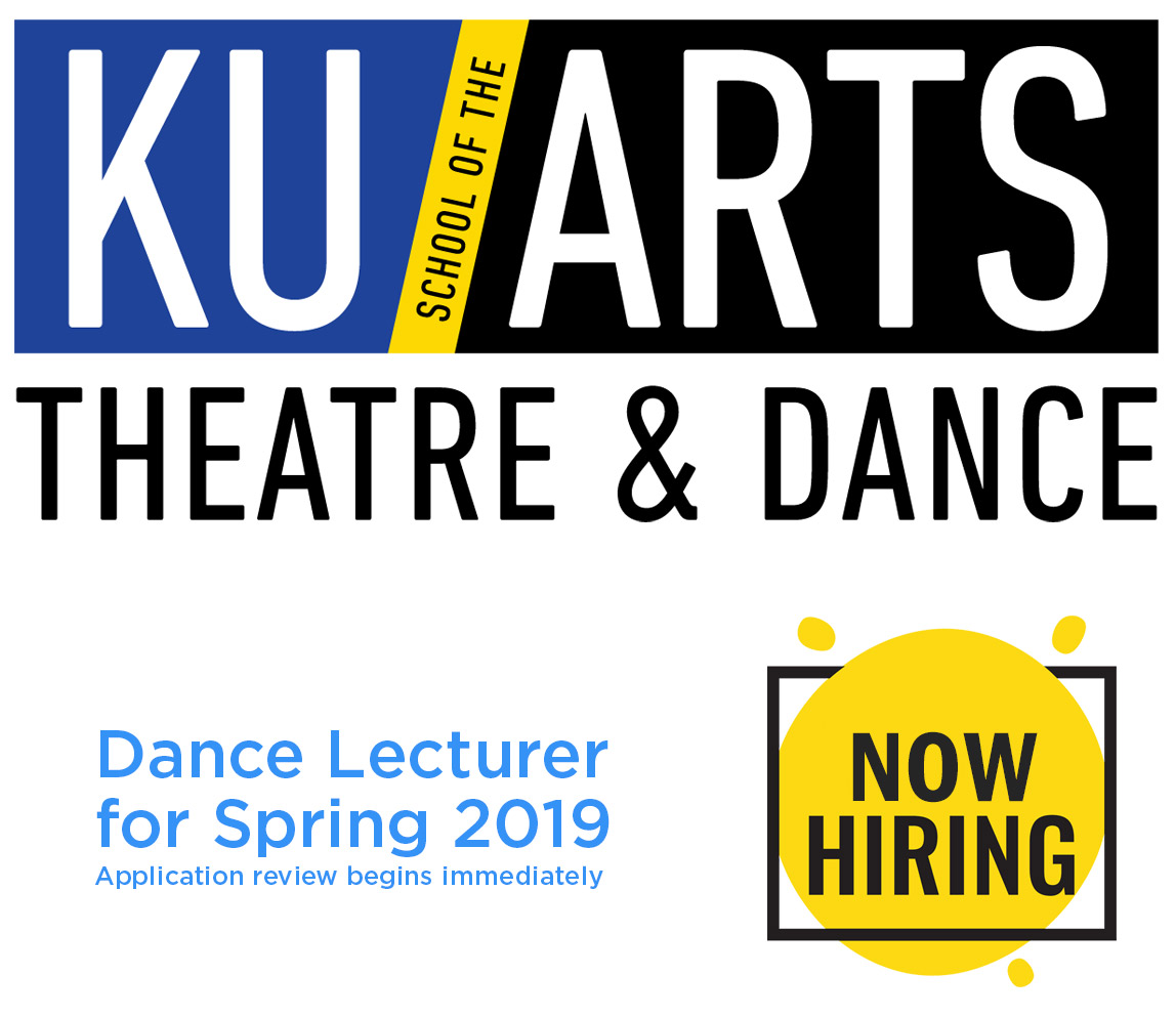 Now hiring Dance Lecturer for Spring 2019. Application review begins immediately