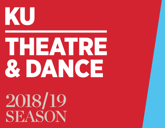 red and blue graphic with the words KU Theatre & Dance 2018/19 season on it